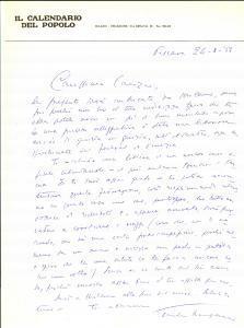 1953 PESCARA CALENDARIO DEL POPOLO Giulio TREVISANI a Stefano CANZIO Autografo