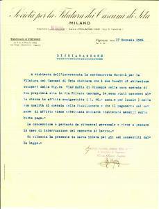 1946 MILANO Società Filatura dei Cascami di Seta affitta casa a Maria VIAN