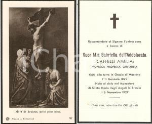 1927 BRESCIA Morte Amelia CAFFELLI Suor Maria Gabriella dell'Addolorata Santino