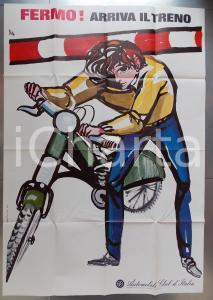 1971 AUTOMOBILE CLUB ITALIA Fermo! Arriva il treno Illustratore Ercole BRINI