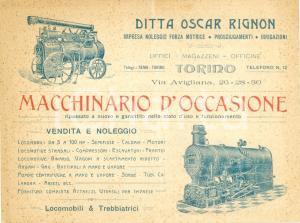 1920 ca TORINO Ditta Oscar RIGNON noleggio forza motrice locomobili *ILLUSTRATO