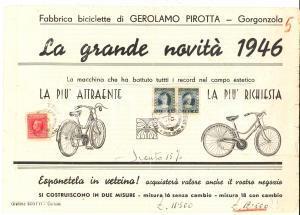 1946 GORGONZOLA Fabbrica biciclette Gerolamo PIROTTA Nuova bicicletta PIRGER