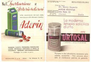 1952 MILANO Laboratori farmaceutici HEUMANN Analgesico URTOSAL Confetti ADERIN