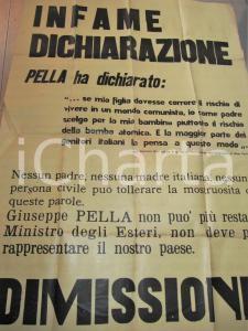 1959 ROMA PCI Giuseppe PELLA preferisce bomba atomica Comunismo 70 x 100 cm
