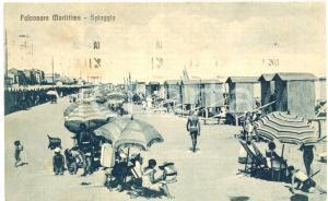 1934 FALCONARA MARITTIMA (AN) Bagnanti in spiaggia *Cartolina postale FP VG