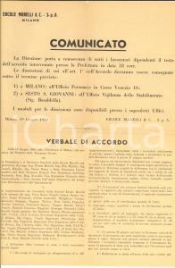 1950 MILANO Azienda ERCOLE MARELLI licenzia 420 lavoratori *Documento