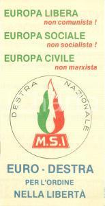1970 ca PROPAGANDA POLITICA MSI contro eurocomunismo e DC *Opuscolo pieghevole