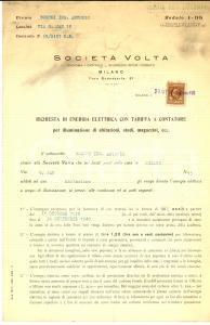 1939 MILANO Contratto SOCIETA' VOLTA Fornitura energia elettrica privata