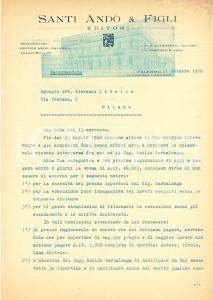 1950 PALERMO Editori Santi ANDO' & Figli vs Emilio BARBALONGA tipografo *Lettera