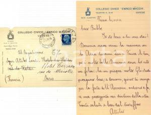 1931 VARESE Collegio Civico Enrico MACCHI *Lettera Attilio LANDI al padre