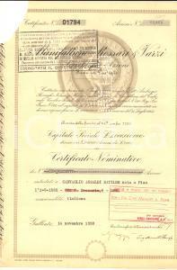 1959 GALLIATE (NO) Manifattura ROSSARI E BRAZZI certificato azionario 9 CEDOLE