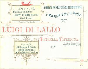 1910 ca PETRELLA TIFERNINA (CB) Luigi DI LALLO gomma elastica cinti erniari
