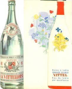 1950 ca VITTEL (F) Eau gazéifiée LA VITTELLOISE Menu illustrato