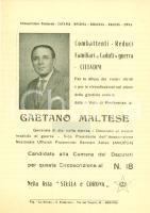 1963 MESSINA Elezioni politiche Gaetano MALTESE Stella e Corona *Volantino