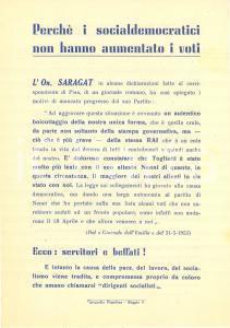 1951 PCI Elezioni Comunali Giuseppe SARAGAT regge coda alla DC *Opuscolo