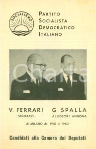 1963 MILANO PSDI Elezioni politiche Virgilio FERRARI Giuseppe SPALLA Deputati