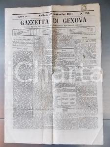 1861 GAZZETTA DI GENOVA n° 230 Sommosse della folla contro il caro viveri