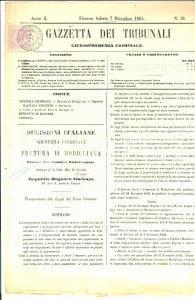 1864 GAZZETTA DEI TRIBUNALI MODIGLIANA (FC) Condanna Filippo BAGNARA bettoliere