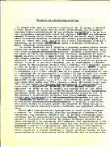 1975 ROMA Silvio PAOLICCHI Progetto di risoluzione politica *AUTOGRAFO