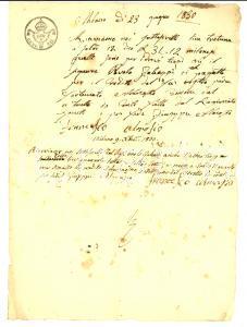 1830 MILANO Paolo GALEAZZI salda debito verso eredi di Fortunato ALMASIO