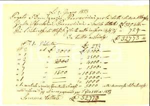 1853 MILANO Versamento dote nobile Giulia SFONDRINI PARRAVICINI *Manoscritto