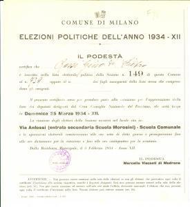 1934 MILANO Certificato elettorale di Gino ROSSI *Elezioni politiche