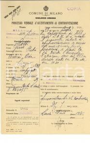 1944 WW2 MILANO via DANTE Multa per circolazione a piedi durante allarme aereo