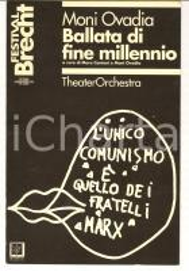 1996 MILANO PICCOLO TEATRO Programma Moni OVADIA Ballata di fine millennio