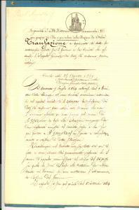 1869 FIRENZE Transazione tra Governo e Società per Appalto DAZIO CONSUMO