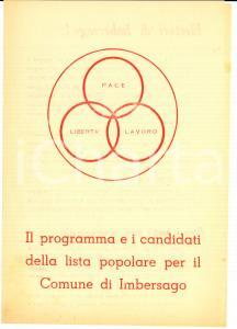 1950 ca IMBERSAGO (LC) LISTA POPOLARE Programma e candidati elezioni comunali