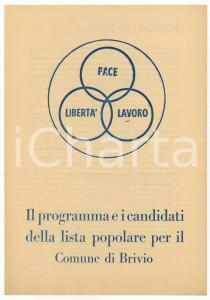 1950 ca BRIVIO (LC) LISTA POPOLARE Programma e candidati elezioni comunali