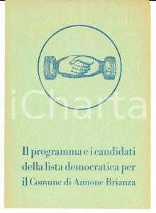 1950 ca ANNONE BRIANZA LISTA POPOLARE Programma e candidati elezioni comunali