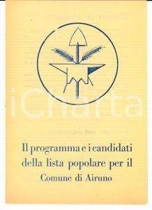 1950 ca AIRUNO (LC) LISTA POPOLARE Programma e candidati elezioni comunali