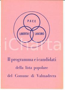 1950 ca VALMADRERA (LC) LISTA POPOLARE Programma e candidati elezioni comunali