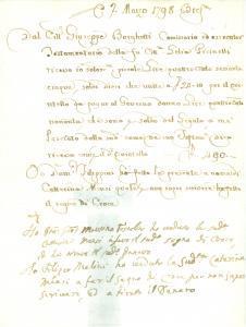 1798 BRESCIA Caterina MENSI riceve eredità di Lelia PICINELLI *Documento