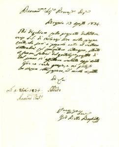 1834 BRESCIA Prevosto Faustino ROSSINI presta denaro a Giovanni Pietro BORGHETTI