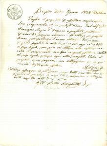 1830 BRESCIA Francesco SECCO D'ARAGONA presta denaro a Giovanni Pietro BORGHETTI