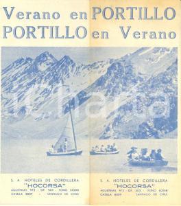 1950 CILE PORTILLO en verano Opuscolo ILLUSTRATO con mappa *Hoteles HOCORSA