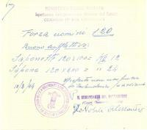 1944 17° BRIGATA LAVORATORI RSI Buono per saponette e sapone *Ricevuta