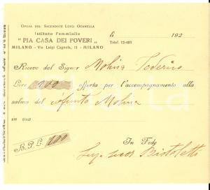 1920 ca MILANO Istituto Femminile PIA CASA DEI POVERI *Ricevuta per defunto