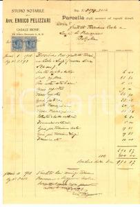 1918 CASALE MONFERRATO (AL) Conto dell'avvocato Enrico PELLIZZARI *Manoscritto