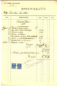 1936 MILANO Conto dell'avvocato Piero VALTOLINA *Manoscritto