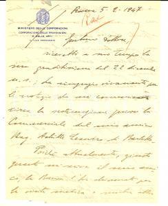1947 ROMA Gaetano PISTILLO raccomanda l'amico Achille LEANDRO *Autografo