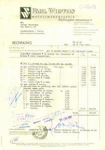 1953 SOLINGEN (DE) Paul WIRTHS Metallwarenfabrik *Fattura commerciale