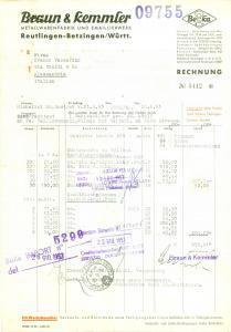 1953 REUTLINGEN (DE) Metallwarenfabrik emaillierwerk BRAUN & KEMMLER *Fattura
