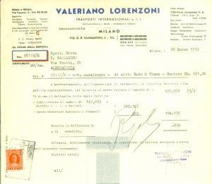 1953 MILANO Valeriano LORENZONI Trasporti internazionali *Fattura commerciale