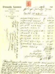 1923 SAVONA Lazzaro PICCARDO Esportazione frutta verdura e agrumi *Fattura