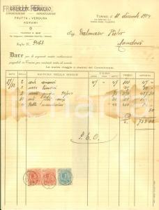 1924 TORINO Giuseppe FERRERO Esportazione importazione frutta verdura *Fattura