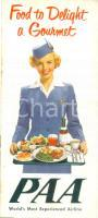 1960 ca PAN AMERICAN AIRLINES PAA Food to Delight a Gourmet *Opuscolo ILLUSTRATO