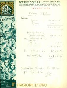 1939 ROMA Conteggio di salario dipendente FOX FILM CORP. *Documento ILLUSTRATO